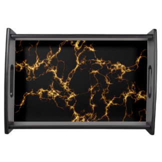Elegant Marble style3 - Black Gold Serving Tray