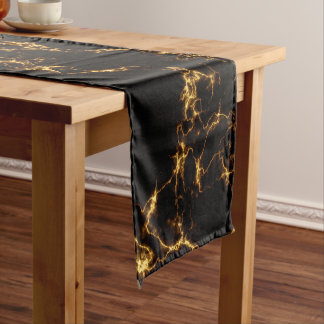 Elegant Marble style3 - Black Gold Short Table Runner