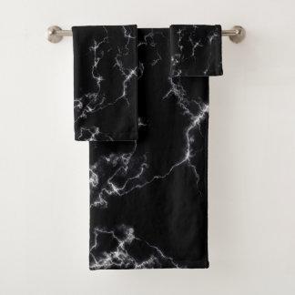 Elegant Marble style4 - Black and White Bath Towel Set