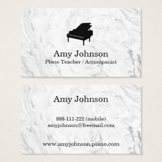Elegant Marble Texture Piano Teacher Business Card