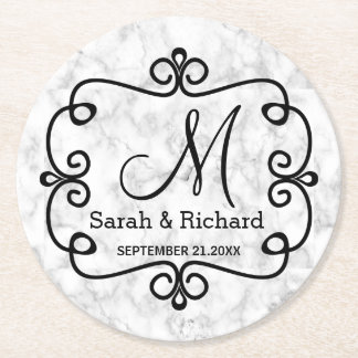 Elegant Marble Wedding Monogram Round Paper Coaster
