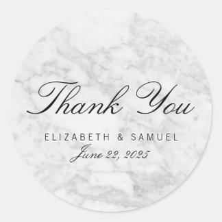 Elegant Marble White Grey Circle Thank You Sticker