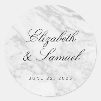 Elegant Marble White Grey Round Wedding Sticker