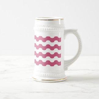 Elegant marine waves of pink geometry beer stein