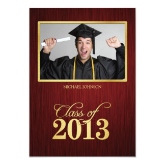 Elegant maroon and gold Class of 2013 Graduation 13 Cm X 18 Cm Invitation Card
