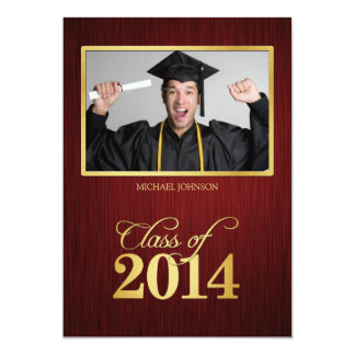 Elegant maroon and gold Class of 2014 Graduation Personalized Announcements