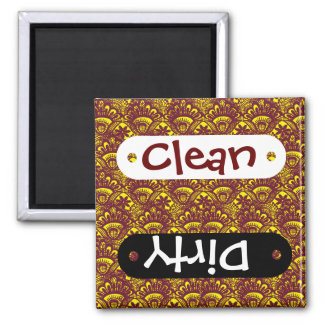 Elegant Maroon and Yellow Lace Damask Pattern Magnet