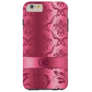 Elegant Maroon Red Floral Damasks Tough iPhone 6 Plus Case