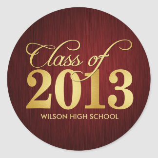 Elegant Maroon vignette and Gold Class of 2013 Classic Round Sticker