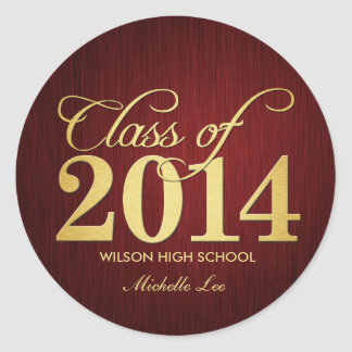 Elegant Maroon vignette and Gold Class of 2014 Classic Round Sticker