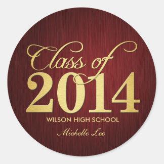 Elegant Maroon vignette and Gold Class of 2014 Round Sticker