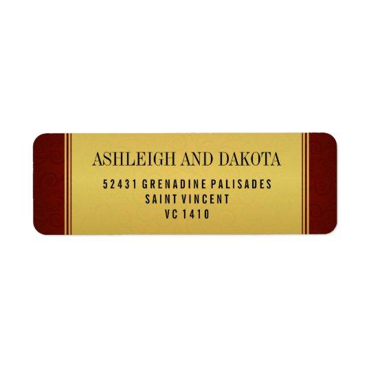 Elegant Maroon Wedding Collection & Gold Overlay Return Address Label