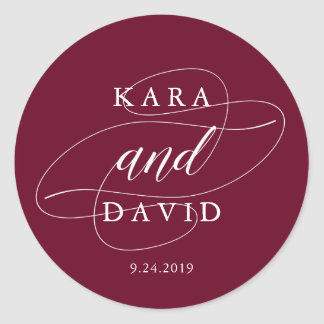 Elegant Marsala and White Calligraphy Wedding Classic Round Sticker