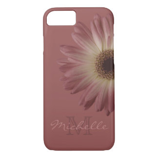 Elegant Marsala Wine Floral Daisy Monogram Name iPhone 7 Case