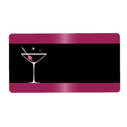 Elegant martini cocktail drink glass fuchsia black