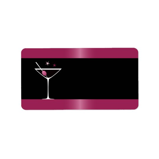 Elegant martini cocktail drink glass fuchsia black address label
