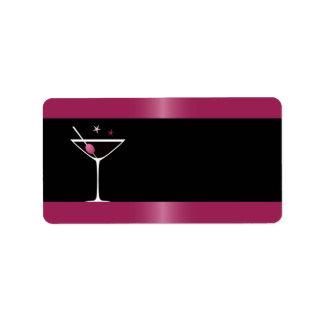 Elegant martini cocktail drink glass fuchsia black label