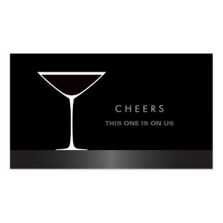 Elegant martini cocktail glass drink voucher business cards