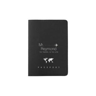 elegant masculine Mr. black travel Passport Holder