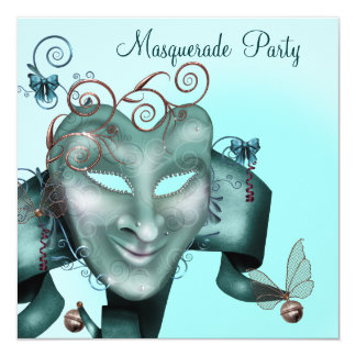 Elegant Mask Teal Blue Masquerade Party Personalized Invites