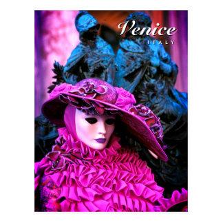 Elegant Masked Carnival Character Postcard