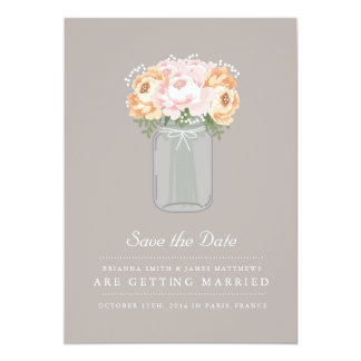 Elegant Mason Jar Save the Date Card