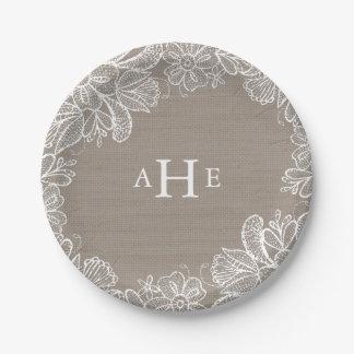Elegant Mason Jar Wedding Paper Plate