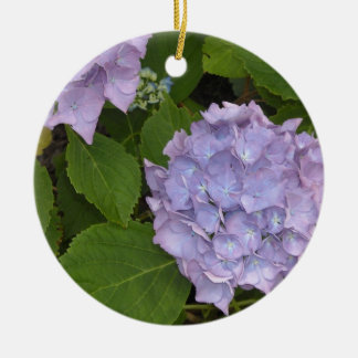 Elegant Mauve Hydrangeas Ceramic Ornament