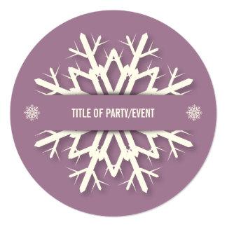 Elegant Mauve Snowflake Christmas Party 13 Cm X 13 Cm Square Invitation Card