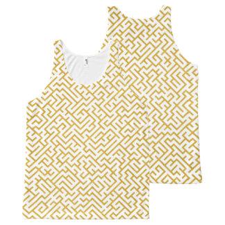 Elegant Maze Modern Art - Gold & White All-Over Print Singlet