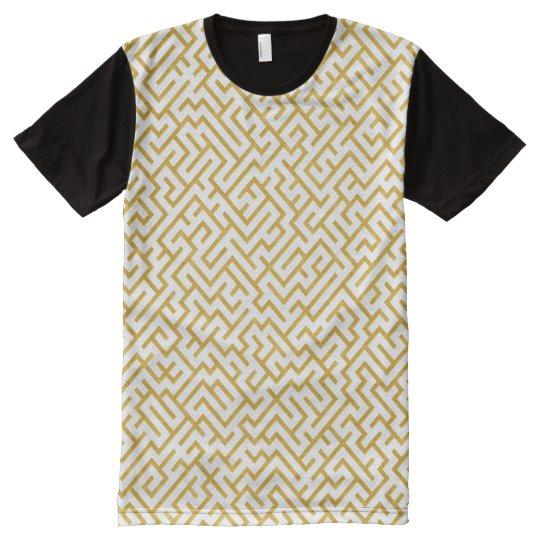 Elegant Maze Modern Art - Gold & White All-Over Print T-Shirt