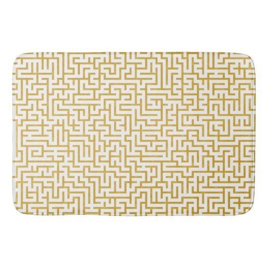 Elegant Maze Modern Art - Gold & White Bath Mat