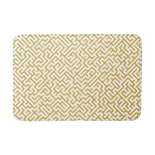 Elegant Maze Modern Art - Gold & White Bath Mat