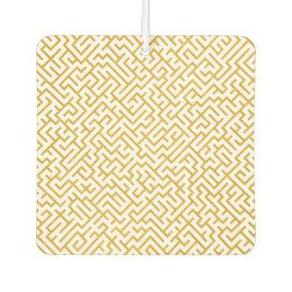 Elegant Maze Modern Art - Gold & White Car Air Freshener