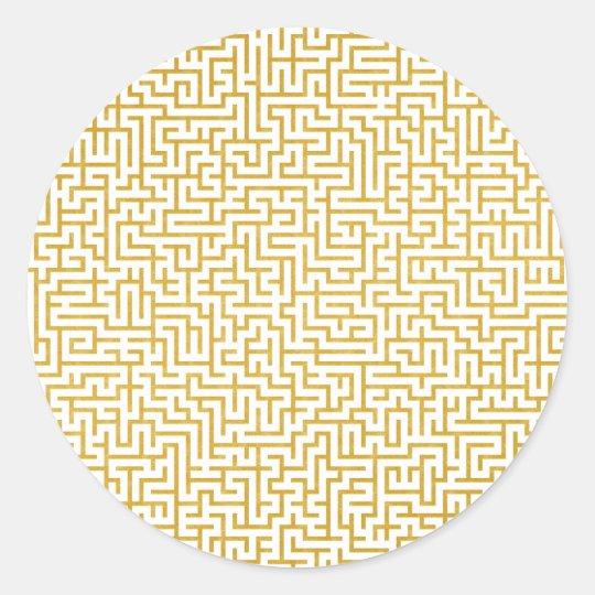 Elegant Maze Modern Art - Gold & White Classic Round Sticker