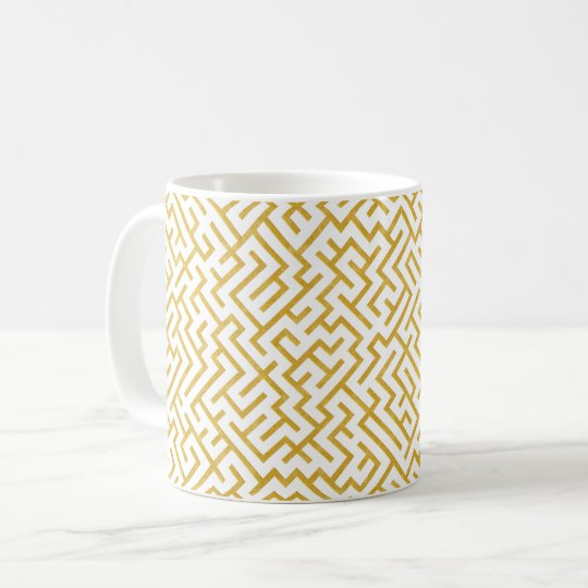 Elegant Maze Modern Art - Gold & White Coffee Mug