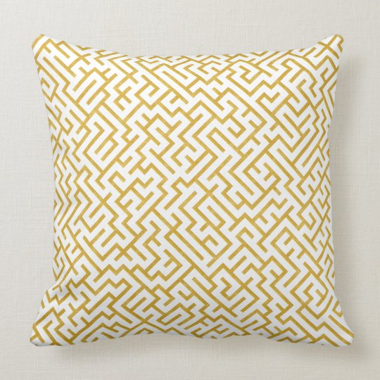 Elegant Maze Modern Art - Gold & White Cushion