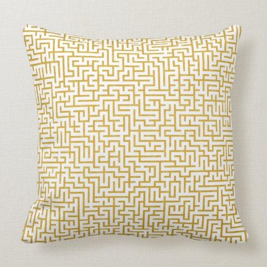 Elegant Maze Modern Art - Gold & White Cushion