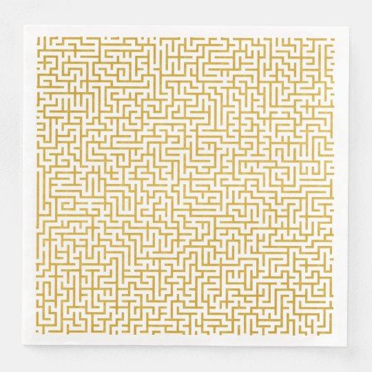 Elegant Maze Modern Art - Gold & White Disposable Napkin