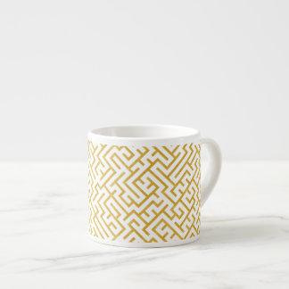 Elegant Maze Modern Art - Gold & White Espresso Cup