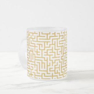 Elegant Maze Modern Art - Gold & White Frosted Glass Coffee Mug