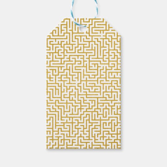 Elegant Maze Modern Art - Gold & White Gift Tags