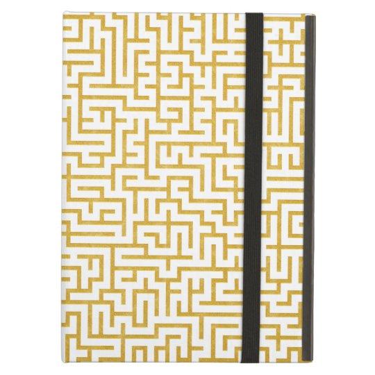Elegant Maze Modern Art - Gold & White iPad Air Cover