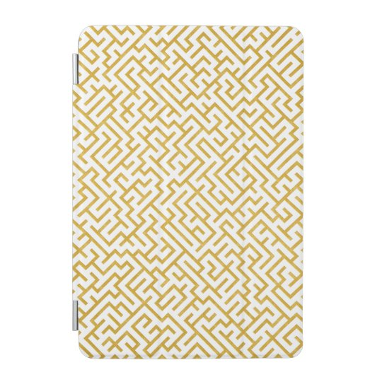 Elegant Maze Modern Art - Gold & White iPad Mini Cover