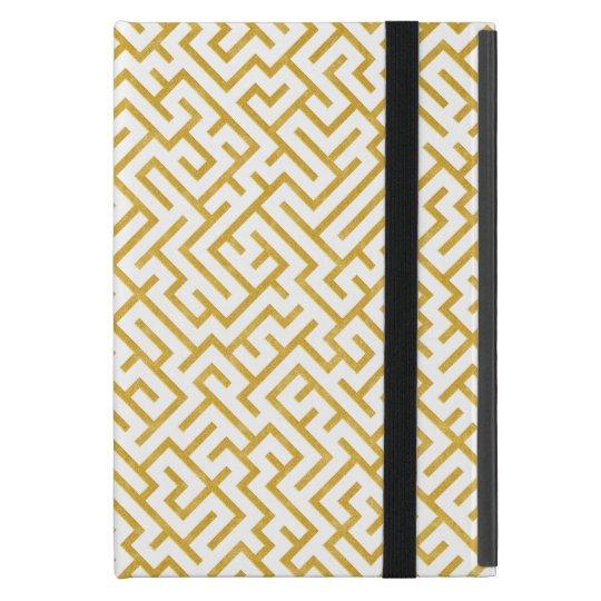 Elegant Maze Modern Art - Gold & White iPad Mini Cover