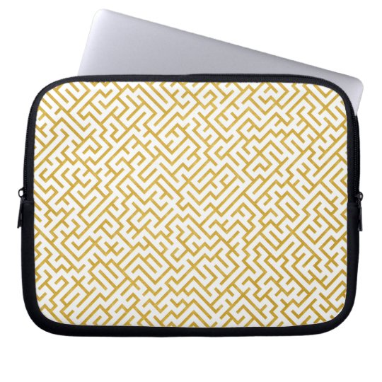 Elegant Maze Modern Art - Gold & White Laptop Sleeve