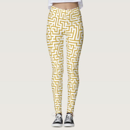 Elegant Maze Modern Art - Gold & White Leggings