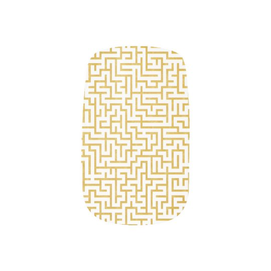 Elegant Maze Modern Art - Gold & White Minx Nail Art