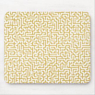 Elegant Maze Modern Art - Gold & White Mouse Pad