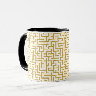 Elegant Maze Modern Art - Gold & White Mug